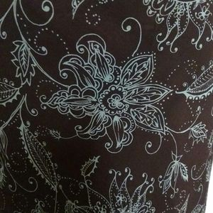 Ann Taylor Brown Turquoise Floral Wrap Skirt 8